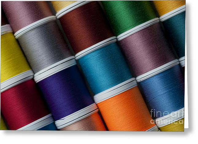 Textile Photographs Greeting Cards - Bright colored spools of thread Greeting Card by Jim Corwin