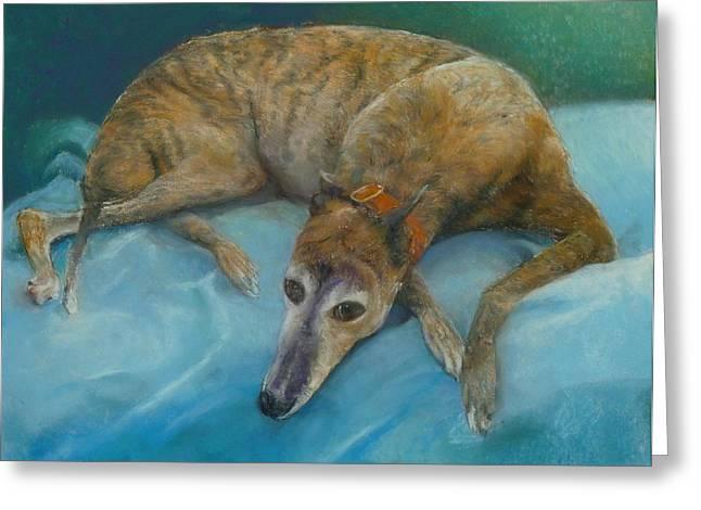Greyhound Dog Pastels Greeting Cards - Brindle Greyhound Greeting Card by Howard Scherer