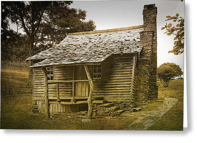 Hunting Cabin Photographs Greeting Cards - Brinegar Cabin in the Blue Ridge Parkway Greeting Card by Randall Nyhof