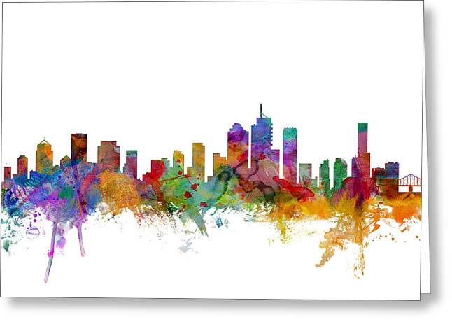 Cityscape Digital Greeting Cards - Brisbane Australia Skyline Greeting Card by Michael Tompsett