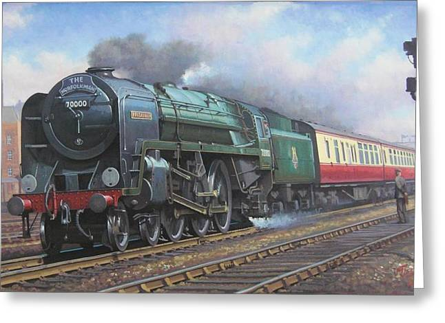 Trains Paintings Greeting Cards - Britannia pacific. Greeting Card by Mike  Jeffries