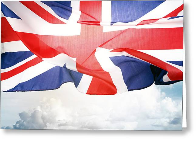 Flying Flag Greeting Cards - British flag Greeting Card by Les Cunliffe