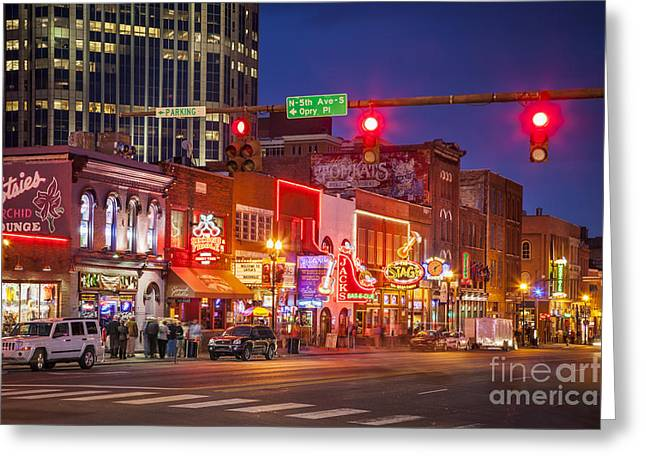 Nighttime Greeting Cards - Broadway Street Nashville Greeting Card by Brian Jannsen