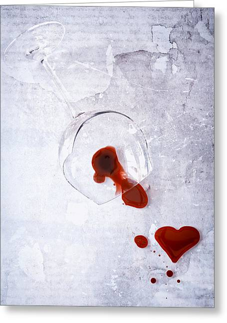 Broken Heart Greeting Cards - Broken Glass Greeting Card by Joana Kruse