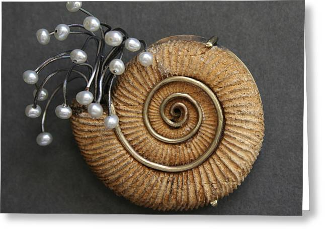 Fossil Jewelry Greeting Cards - Brooch Greeting Card by Pat Oldham