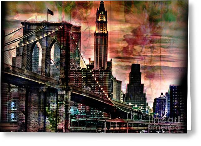 Brooklyn Bridge Greeting Card by Christine Mayfield