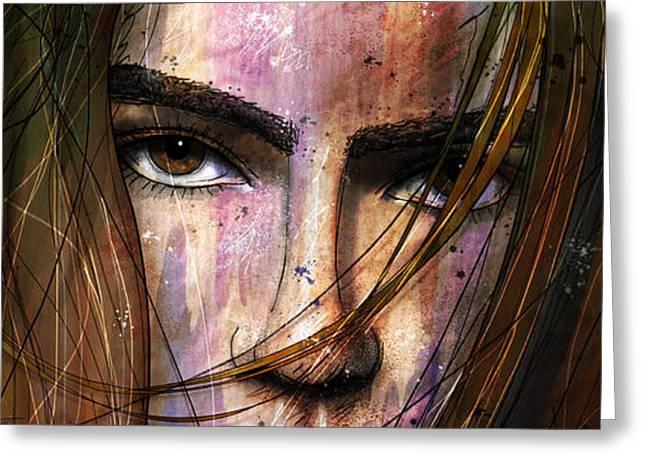 Brown Eyes Greeting Cards - Brown Iris Entangled Greeting Card by Gary Bodnar