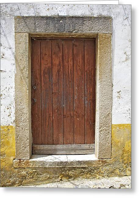 Medieval Entrance Greeting Cards - Brown Rustic Wood Door in a Medieval European Village Greeting Card by David Letts