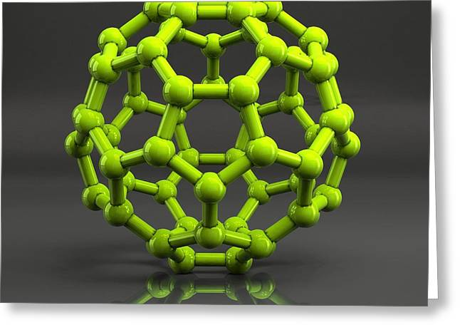 Geodesic Dome Greeting Cards - Buckyball Molecule C60, Artwork Greeting Card by Laguna Design