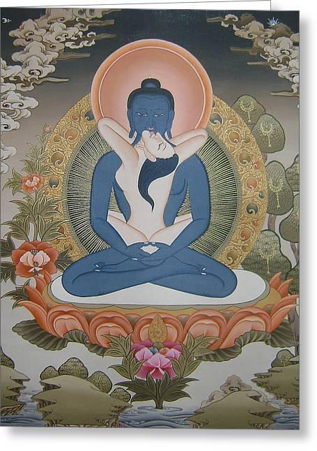 Buddha Shakti Thangka Painting Greeting Card by Ts