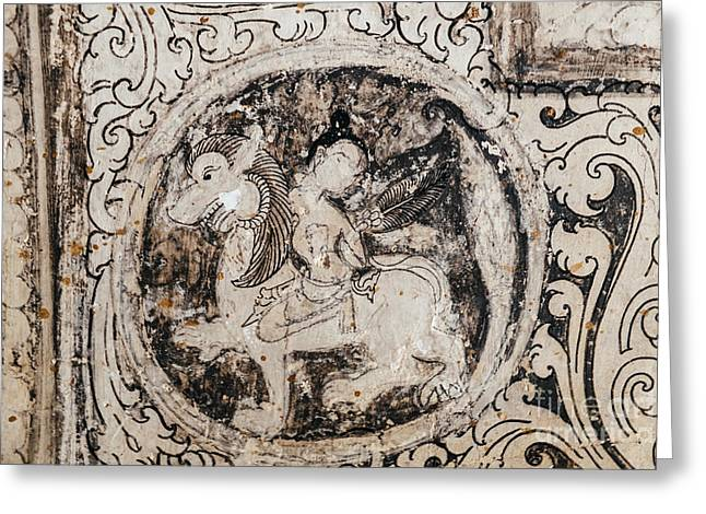 Bagan Greeting Cards - Buddhist Mural Greeting Card by Dean Harte
