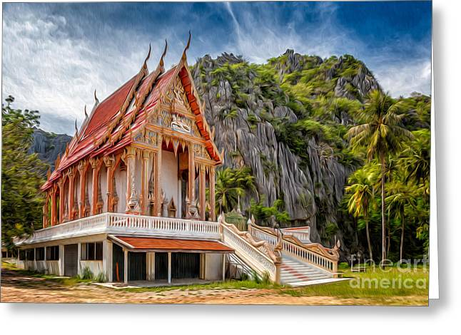 Thai Greeting Cards - Buddhist Temple Greeting Card by Adrian Evans