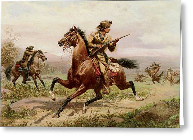 Western Western Art Greeting Cards - Buffalo Bill Fighting Indians Greeting Card by Louis Maurer