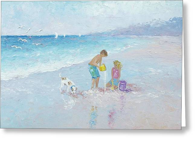 Dog Beach Print Greeting Cards - Building Sandcastles Greeting Card by Jan Matson