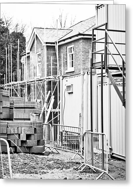 Black Commerce Greeting Cards - Building site Greeting Card by Tom Gowanlock