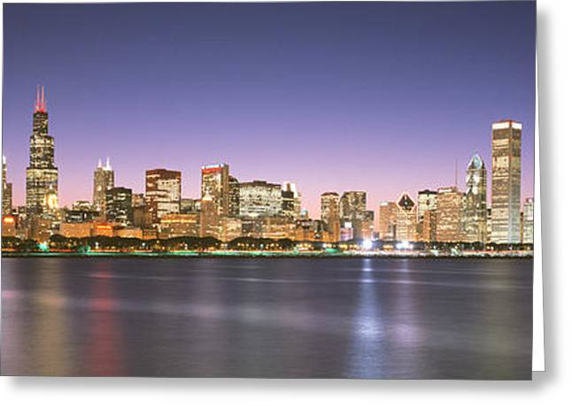 Illuminate Greeting Cards - Buildings At The Waterfront, Chicago Greeting Card by Panoramic Images