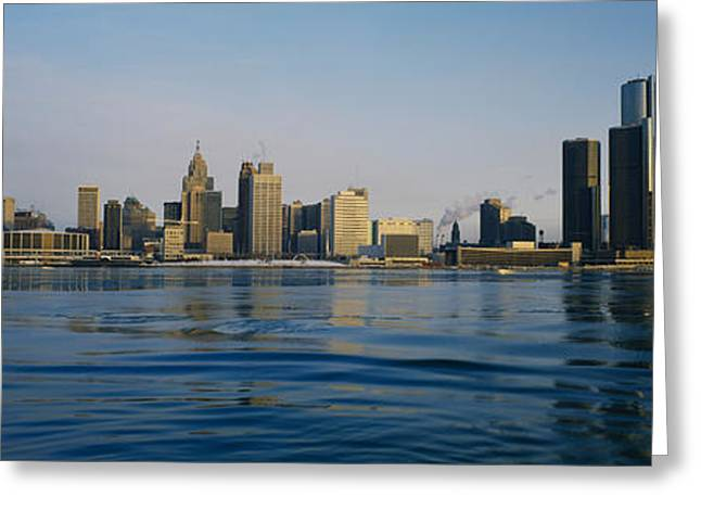 Detroit Photography Greeting Cards - Buildings At The Waterfront, Detroit Greeting Card by Panoramic Images