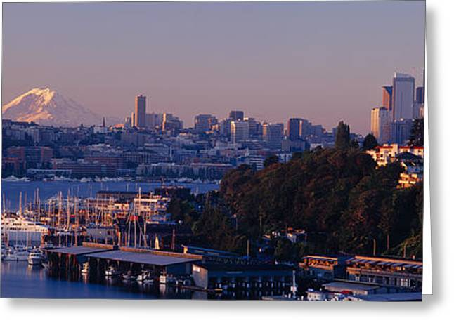 Lake Union Greeting Cards - Buildings At The Waterfront, Lake Greeting Card by Panoramic Images