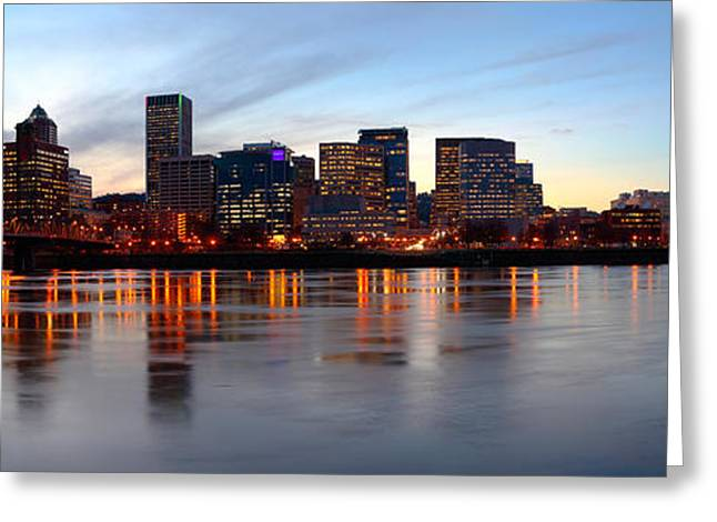 Buildings At The Waterfront, Portland Greeting Card by Panoramic Images