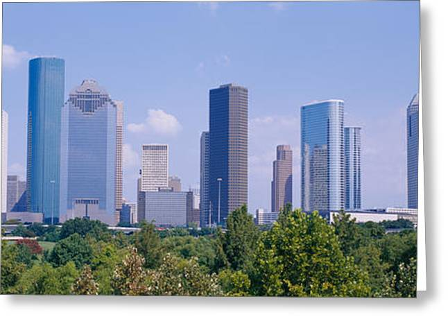 Parked Cars Greeting Cards - Buildings In A City, Houston, Texas, Usa Greeting Card by Panoramic Images