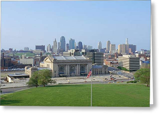 Kansas City Missouri Greeting Cards - Buildings In A City, Kansas City Greeting Card by Panoramic Images