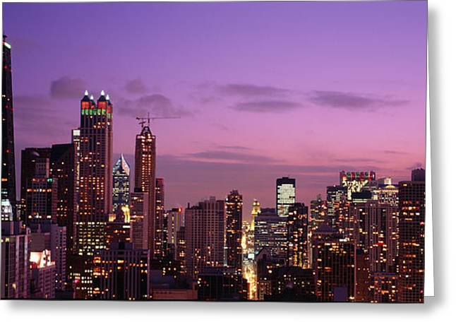 Light Purple Greeting Cards - Buildings Lit Up At Dusk, Chicago Greeting Card by Panoramic Images