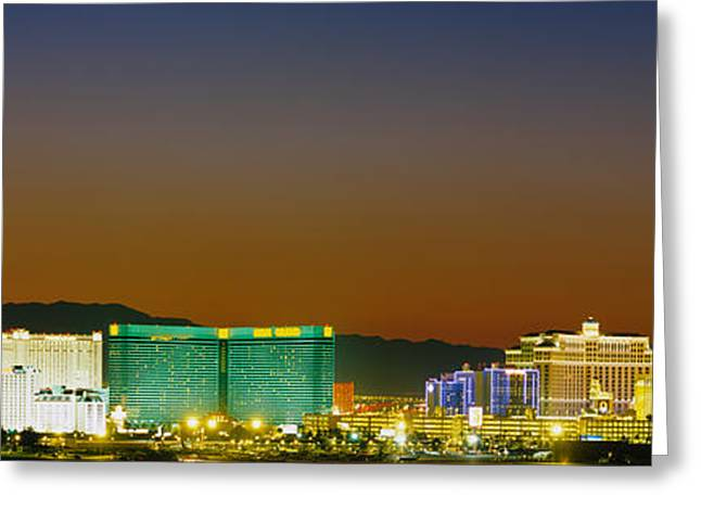 Electric Building Greeting Cards - Buildings Lit Up At Dusk, Las Vegas Greeting Card by Panoramic Images