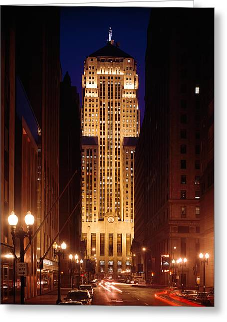 Long Boards Greeting Cards - Buildings Lit Up At Night, Chicago Greeting Card by Panoramic Images