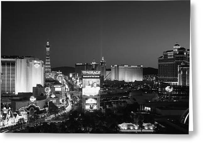 Mirage Greeting Cards - Buildings Lit Up At Night, Las Vegas Greeting Card by Panoramic Images