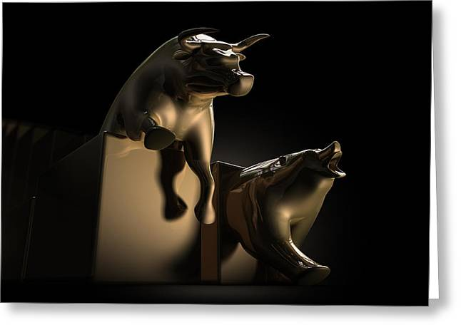 Wealth Digital Greeting Cards - Bull And Bear Stock Market Statues Greeting Card by Allan Swart