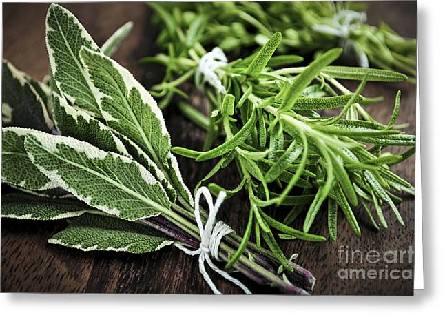 Various Greeting Cards - Bunches of fresh herbs Greeting Card by Elena Elisseeva