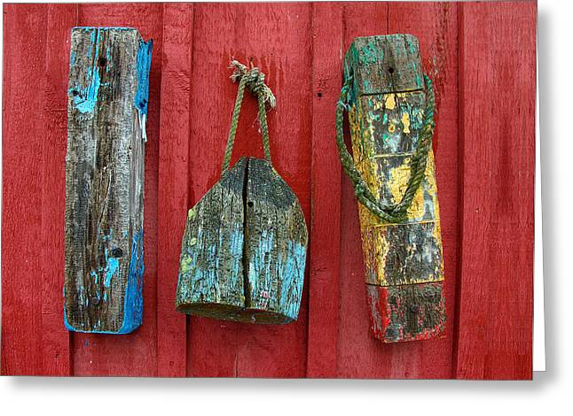 Red Fishing Shack Greeting Cards - Buoys at Rockport Motif Number One Lobster Shack Maritime Greeting Card by Jon Holiday