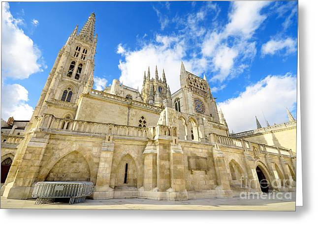 Medieval Temple Greeting Cards - Burgos Cathedral Famous Spanish Landmark. Greeting Card by David Herraez