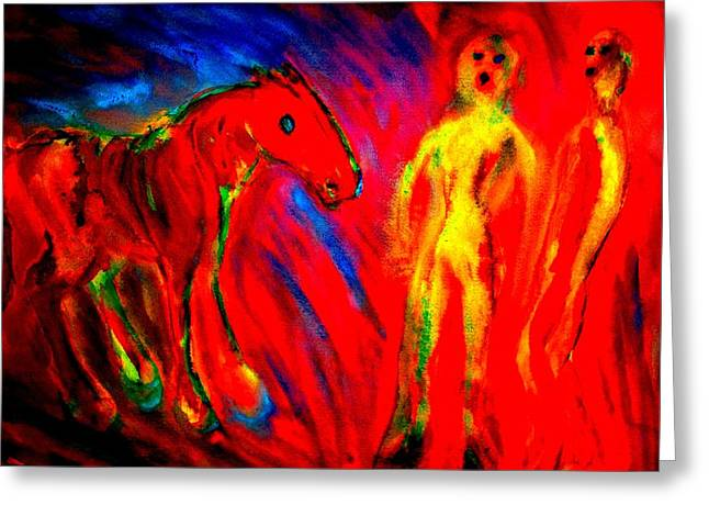 Temperament Paintings Greeting Cards - Burning love  Greeting Card by Hilde Widerberg