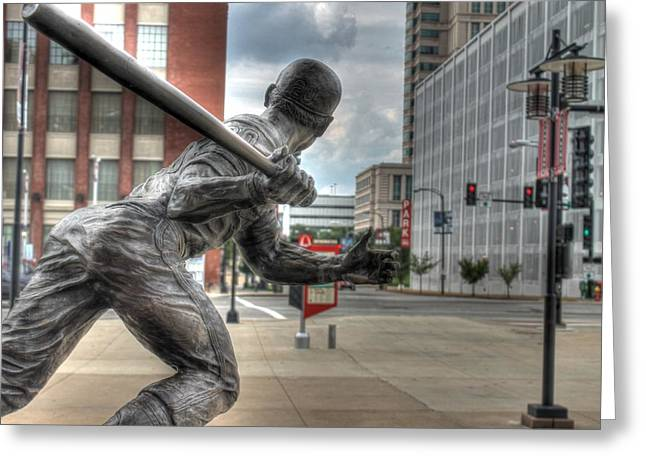 Brock Street Greeting Cards - Busch Stadium Greeting Card by Jane Linders