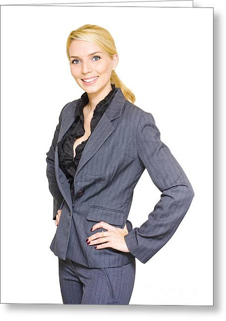 Businesspeople Greeting Cards - Business Woman Greeting Card by Ryan Jorgensen