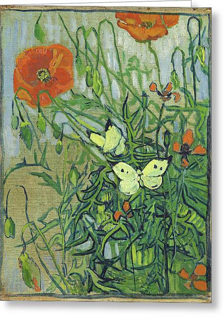Butterflies Paintings Greeting Cards - Butterflies and poppies Greeting Card by Vincent van Gogh