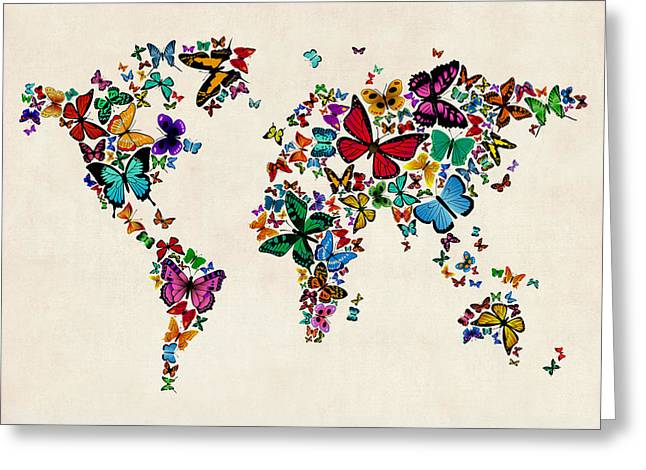Insect Digital Greeting Cards - Butterflies Map of the World Greeting Card by Michael Tompsett