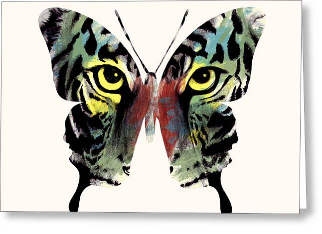 Tiger Illustration Greeting Cards - Butterfly 2 Greeting Card by Mark Ashkenazi