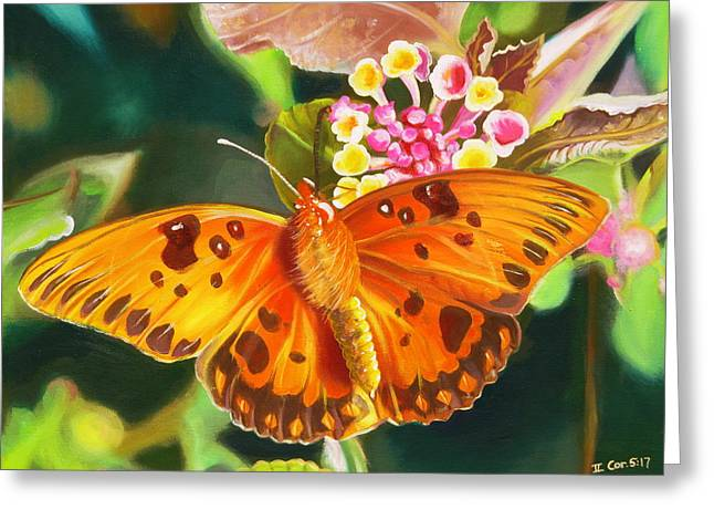 Phyllis Beiser Greeting Cards - Butterfly and Lantana Greeting Card by Phyllis Beiser