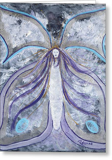 Emergence Paintings Greeting Cards - Butterfly Goddess Greeting Card by Judy M Watts-Rohanna