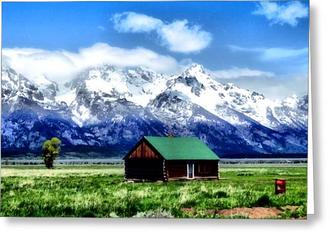 Cabin In The Mountains Greeting Card by Dan Sproul