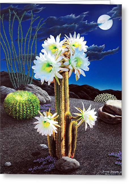 Moonrise Greeting Cards - Cactus Blooms Greeting Card by Snake Jagger