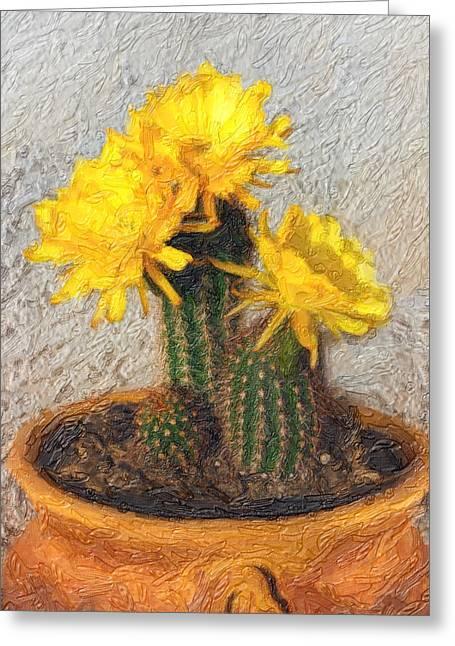 Cactus Flowers Digital Greeting Cards - Cactus Flower Greeting Card by Gravityx9  Designs