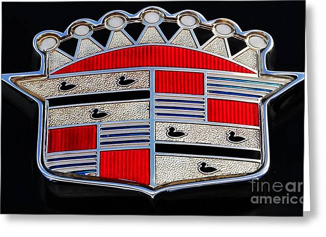 American Automobiles Photographs Greeting Cards - Cadillac Emblem  Greeting Card by Lee Dos Santos