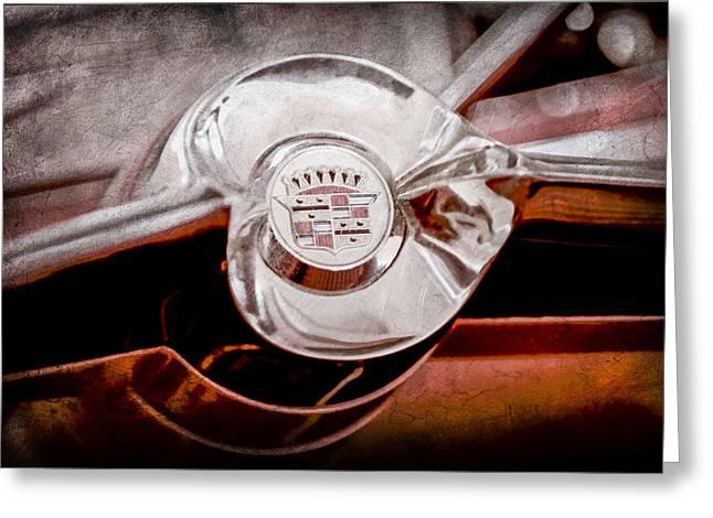 Cadillac Greeting Cards - Cadillac Steering Wheel Emblem Greeting Card by Jill Reger