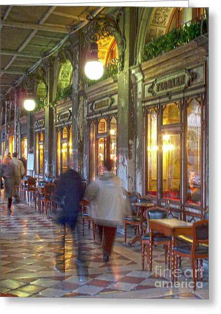 Night Cafe Greeting Cards - Caffe Florian arcade Greeting Card by Heiko Koehrer-Wagner