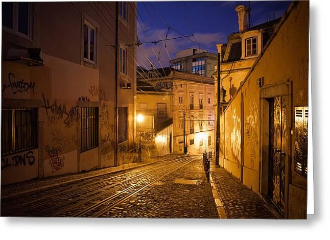 Funicular Greeting Cards - Calcada da Gloria Street at Night in Lisbon Greeting Card by Artur Bogacki
