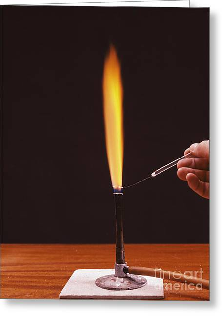 Combusting Greeting Cards - Calcium Flame Test Greeting Card by Andrew Lambert Photography