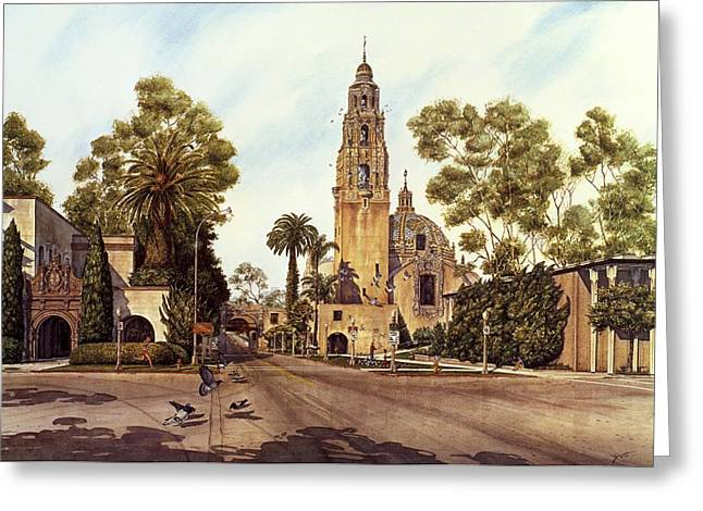 Images Of San Diego Greeting Cards - California Tower Greeting Card by John YATO